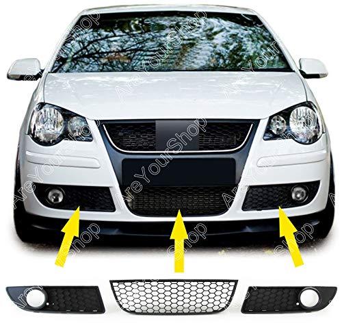 Artudatech rejilla delantera para auto, 1 par de rejillas inferiores antiniebla delanteras estilo panal de abeja para V W Polo 9N3 GTI 2005-2009