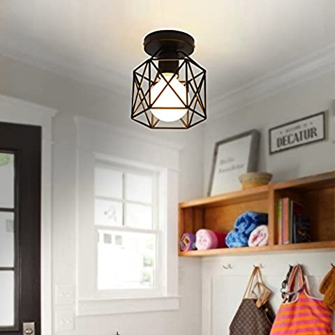 E27 Screw-on 40W Industrial DIY Metal Ceiling Lamp Suspensions Plafonnier Abat-jour Lustre avec Douille Applique d'Eclairage Murale Retro Industriel Lustre fer forge Suspension industrielle Cage Plafonnier Lustre Lampe de plafond métallique simple en fer pour Restaurant 17 cm de hauteur