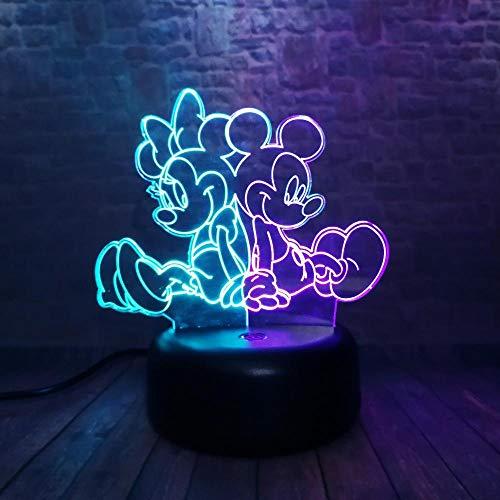 ZNNYE 3D Nachtlicht Kinderheim Doppel 7 Farbe Mickey Und Minnie Anime Figur Familie Cartoon Figur Weihnachten Geburtstag Halloween Urlaub Party Kinderspielzeug