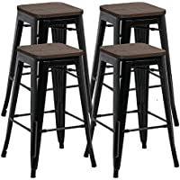 Yaheetech Solid Metal Industrial Breakfast Bar Stools Kitchen Bistro Cafe Vintage - No Assembly Required 26inch