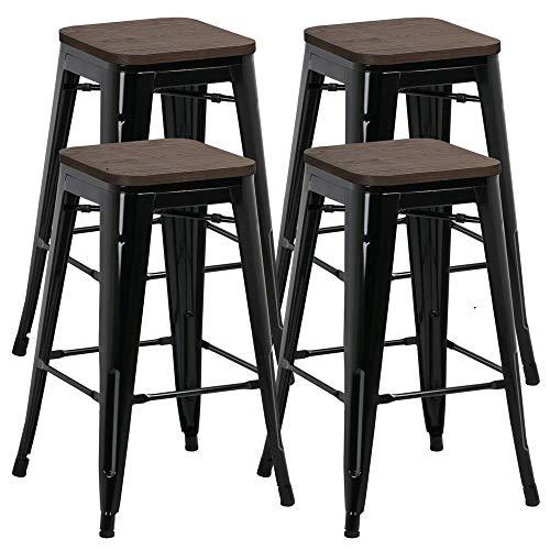 Especificaciones:Material: metal, madera.Capacidad de carga: 150kg por pieza.Altura del taburete de bar: 67,5cm.Grosor del asiento: 2cm.Dimensiones del asiento: aprox. 31 x 31 x 2 cm.Atención: asiento de madera, Por favor, no ponga este taburete en e...