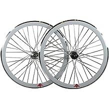 Deep V 43mm, fijo Fixie Gear, vía, una sola velocidad bicicleta ruedas w. Flip Flop hubs (color blanco)