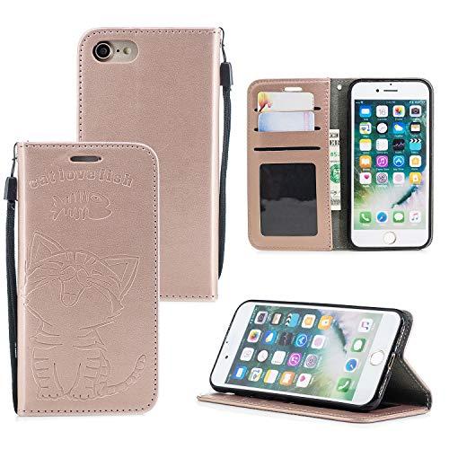 Ostop Brieftasche Hülle für iPhone 6S,iPhone 6 Roségold Leder Handyhülle,Cute Katze Liebe Fisch Muster Standfunktion Geldbörse Kartenfach Schutzhülle Magnetverschluss Flip Abdeckung -