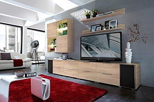 10-tlg Wohnwand in Eiche Nb./grau mit Akustik-Fächern und LED-Beleuchtung, Gesamtmaß B/H/T ca. 330/190/51 cm