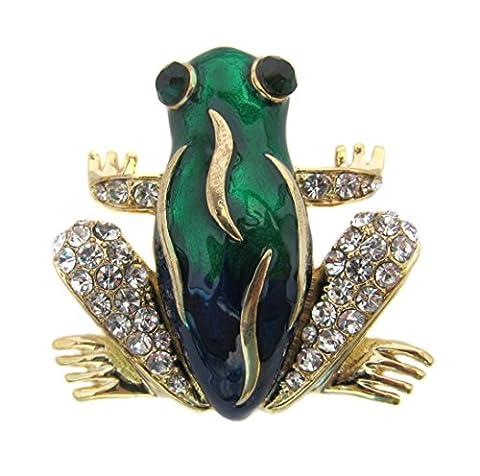 Brosche Boutique grün Emaille und Kristall Frosch Brosche/in Geschenkverpackung (Kristall Frog Pin)