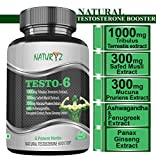 Naturyz Testo-6 Natural Testosterone Booster Supplement with 1000mg Tribulus Terrestris Extract, Safed Musli