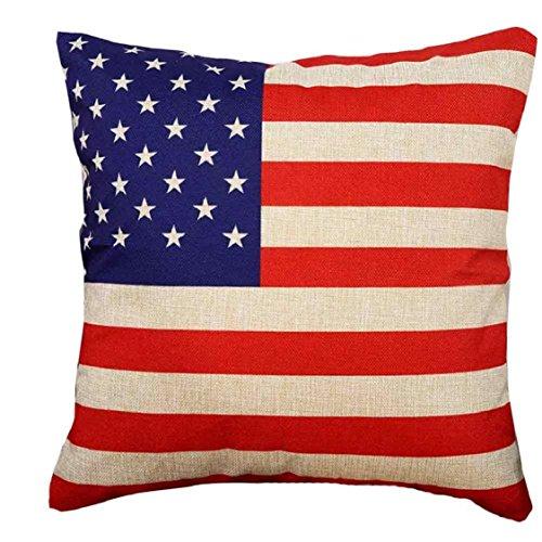 ikevan Hot Verkauf Kissenbezüge Flagge Stil Leinen Blend Quadratisch Kissen Fall Sofa Taille Überwurf Kissenbezug Home Decor (45,7x 45,7cm) 45cm*45cm US-Flagge -