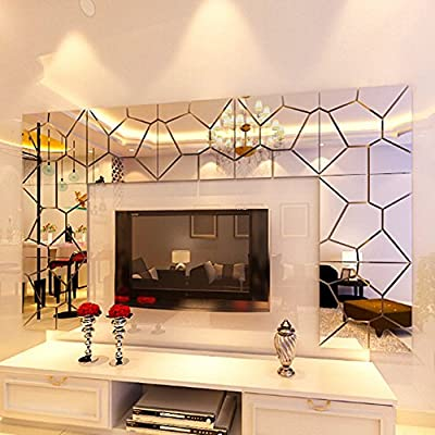 DIY 3D Modern Mirror Art Mural Wall Sticker, Kwock Removable Acrylic Home Hotel Living Room Decor Decal - low-cost UK light shop.