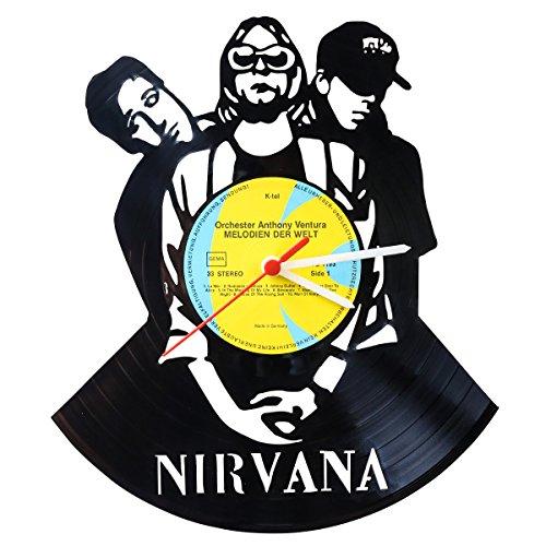 GRAVURZEILE Wanduhr aus Vinyl Schallplattenuhr Nirvana Upcycling Design Uhr Wand-Deko Vintage-Uhr Wand-Dekoration Retro-Uhr Made in Germany