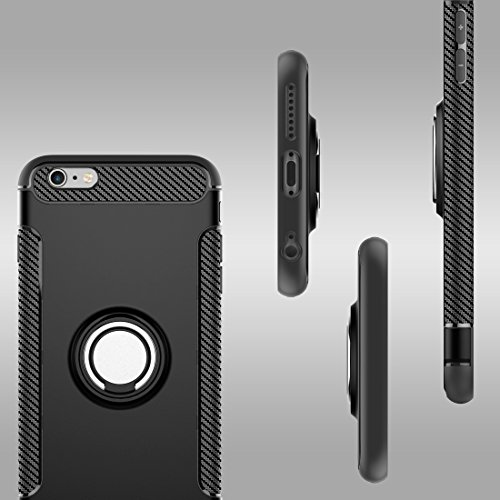 Coque Pour iPhone 6 Plus et 6s Plus Magnetic 360 Degree Rotation Ring Armour Case de protection ( Color : Silver ) Black