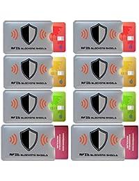 FreeHaveFun RFID Blocker NFC Schutzhülle | 8er Set + Gratis Ebook | 100% NFC Schutz vor Auslesung | 6x RFID Schutz-Hülle für Kreditkarte, Personalausweis + 2x Reisepass RFID Schutz + 8 farbige Sticker