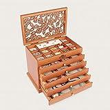 WOOLIY Große Schmuckveranstalter Veranstalter Wooden Storage Box 6 Layers Case mit 5 Schubladen Geschenk für Mama,A