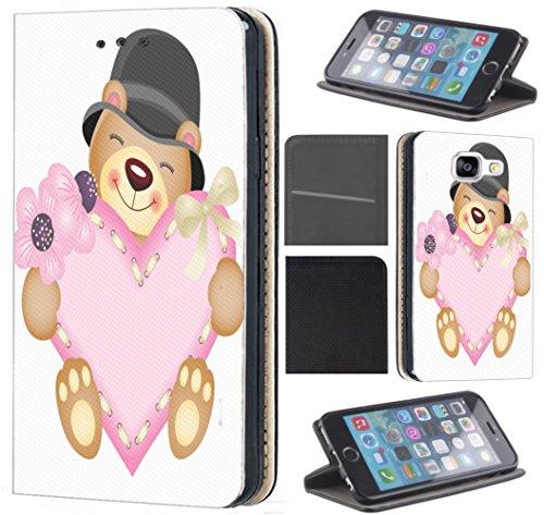 CoverFix Premium Hülle für Samsung Galaxy S4 / S4 Neo Flip Cover Schutzhülle Kunstleder Flip Case Motiv (408 Teddy Bär mit Herz Pink) - Vorne Leder Teddy