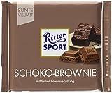 RITTER SPORT Schoko-Brownie (12 x 100 g), Vollmilchschokolade mit Brownie-Füllung, köstliche Schokosplitter in dunkler Kakaocreme, Tafelschokolade