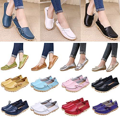 SEGRJ Frauen echte Ledersommer Candy Color Breathable Bowknot Loafer Schuhe