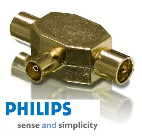 Philips SWV3556/10 Coax TV Splitter Gold Plated for use with TV aerial cable