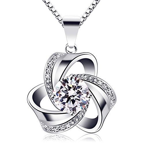 B.Catcher Kette Damen Halskette 925 Sterling Silber Blume Anhänger VergesstMichNicht Set Zirkonia 45CM Kettenlänge Geschenk für Damen