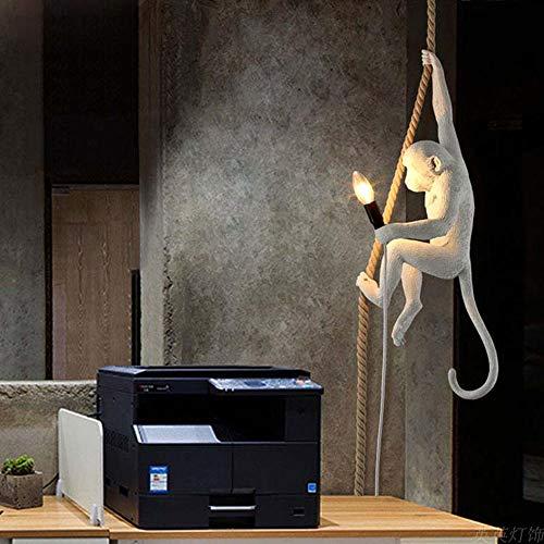 Erwa Moderne Weiße Affen Lampe Seil LED Pendelleuchten Schlafzimmer Pendelleuchte Repliken Harz Glanz Art Deco Hängelampe Leuchte