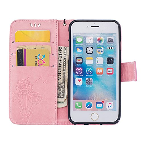 SainCat Apple iPhone 6 Plus Custodia in Pelle,Anti-Scratch Protettiva Corpertura Caso Custodia Per iPhone 6s Plus,Elegante Creativa Dipinto Pattern Design PU Leather Flip Ultra Slim Sottile Morbida Po dente di leone,rosa