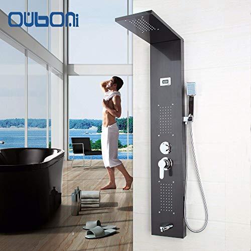 Hand-jet-massage-system (OUBONI New Bathroom Faucet Tap Rainfall Shower Panel Rain Massage System Faucet with Jets Hand Shower Set Brushed Shower Column)