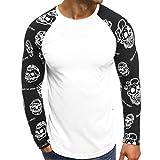 MEIbax Männer Casual Printed Letters Patchwork Langarmshirts Bluse,Herren Fitness-Shirt Adler Totenkopf 3D Bedruckte Longsleeve T-Shirt Tee (Weiß,2XL)