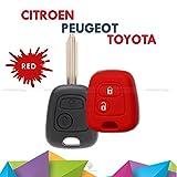 Schutzhülle aus buntem Silikon, weiches Material für Scocca Autoschlüssel mit 2 Tasten für Citroen C1 C2 C3 C5 Picasso Xsara Saxo Berlingo in 10 verschiedenen Farben rot