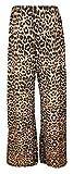 Islander Fashions Womens Large Jambe Imprim� Palazzo Pantalon Dames Fantaisie Plus Taille Pantalon Pantalon Marron L�opard X Grande UK 16-18