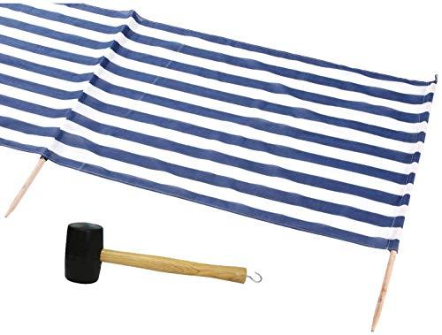 Idena Beach Wind Screen 5 x 0.80 m (Blau/Weiss + Hammer, 1x)