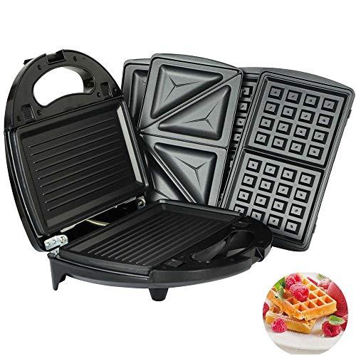 Danniers Waffeleisen 4IN1, Waffeleisen 800W, Tisch-Grill Mit Automatischem Thermostat, Anti...