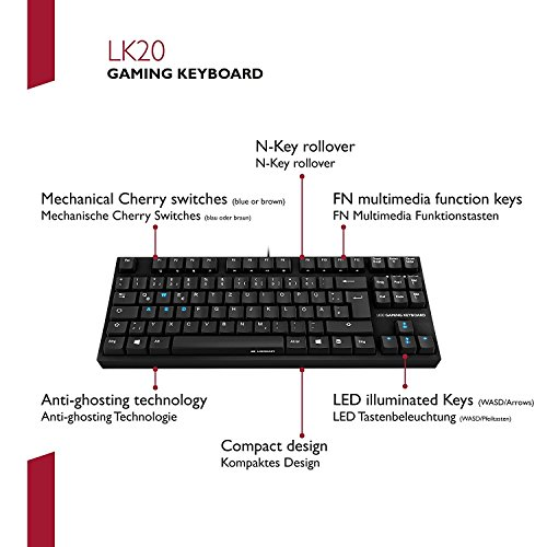 Lioncast LK20 mechanische Gaming Tastatur (LED, USB, Tenkeyless, deutsches QWERTZ-Layout, Cherry Blue) - 4