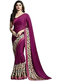 Vedant Vastram Women's Bollywood Designer Fashionable Silk Printed Saree With Blouse Piece (Purple Colour) For...