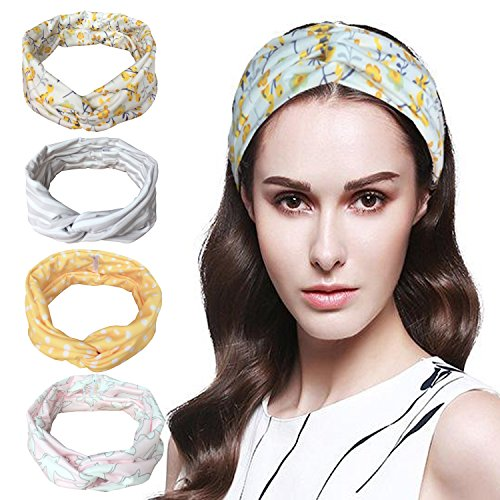 Vellette fascia capelli donna cotone elastico fascia sportiva elastiche modern style vintage turbante fasce ritorto floreale stampata 4pcs