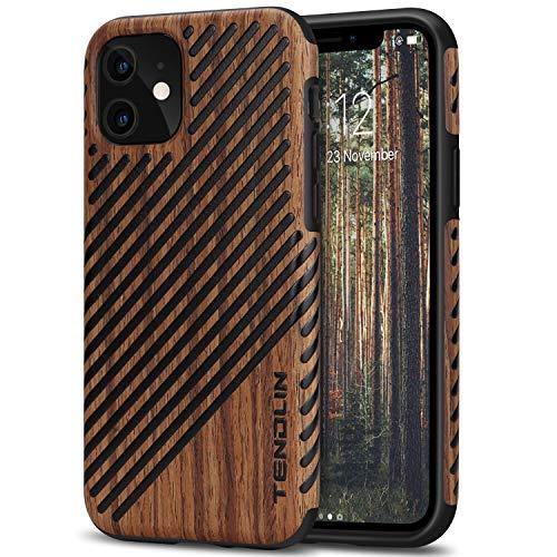 TENDLIN Funda iPhone 11 Madera y Cuero Híbrido Carcasa Compatible con iPhone 11...