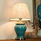 LILY Große orientalische keramische Tischlampe - Chinesische Mandarin-Art vervollkommnen für alle Wohnräume u. Schlafzimmer E27 (Himmel-Blau) ( Color : Gray-A )