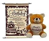Gift For Girls - Happy Birthday Teddy With Birthday Scroll Card