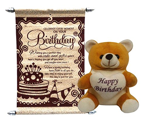 Gift For Girls - Happy Birthday Teddy With Birthday Scroll Card