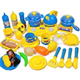 XuBa Kinder Spielhaus Küche Koch Kochutensilien Simulation Obst Spielzeug 33 Sets Jungen und Mädchen Kinder Spielzeug Set blau