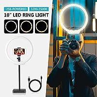 Neewer Luce LED Anulare 26cm a USB 5W 10W Dimmerabile Bicolore 3200-5500K On-camera con Base, Braccio Flessibile,Supporto Clip per Smartphone, per Video Truccatura Bellezza Streaming in Diretta