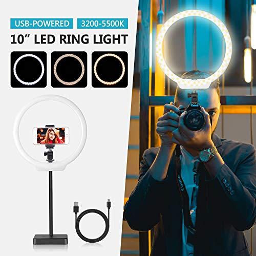 Neewer 26cm USB LED Luz de Anillo: 2-Potencia 5W/10W Regulable Bi-Color...