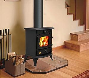 """Lincsfire Saxilby JA013 6.5KW Type A Multifuel Cast Iron Log Burner Wood Burning Stove Woodburners + One Free 5"""" Flue Pipe"""