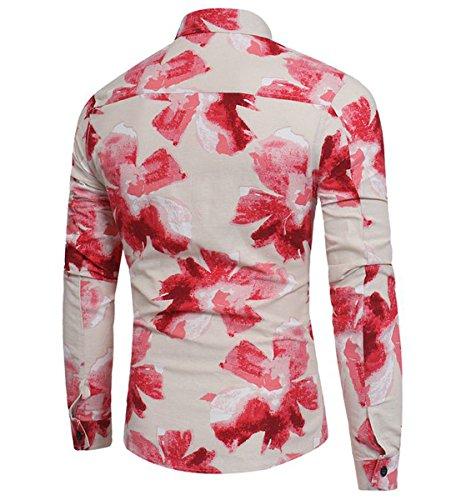 Allthemen Herren Blumen Art-Langärmliges Blumen Hemd Freizeit Shirt von #02 Rot