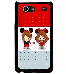 Fuson Premium Cute Couple Metal Printed with Hard Plastic Back Case Cover for Samsung Galaxy S Advance i9070