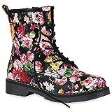 Stiefelparadies Damen Stiefeletten Worker Boots Gefütterte Stiefel Print Schuhe 149875 Schwarz Prints 38 Flandell