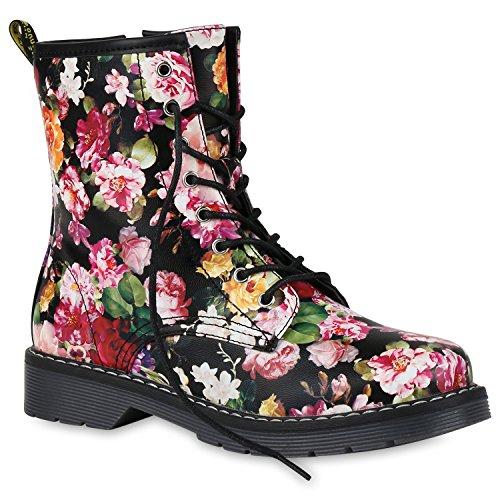 Stiefelparadies Damen Stiefeletten Worker Boots Gefütterte Stiefel Print Schuhe 149875 Schwarz Prints 37 Flandell