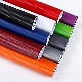 KKmoon, foglio adesivo in fibra di carbonio 3D; 30 x 127cm, adesivi 3D in fibra di carbonio per lo stile dell'auto, rotolo di pellicola per il rivestimento di veicoli, accessori per auto, decalcomanie di protezione per moto