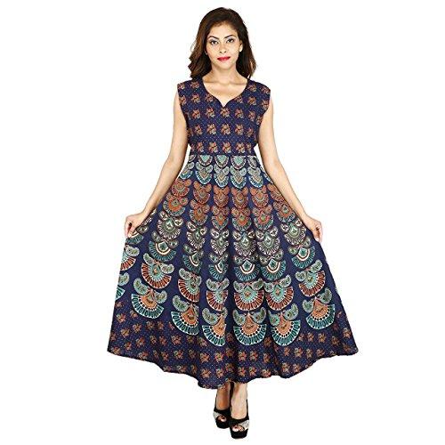 36% OFF on VAASTRA Women s One Piece Long Dress Jaipuri Print Cotton - Navy  Blue a913bd3a82