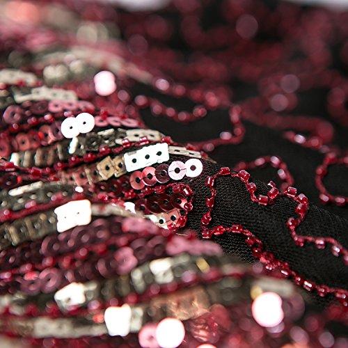 Metme Damen der 1920er Jahre Vintage Fransen Flapper Kleider große Gatsby Party Prom Kleid Rotwein