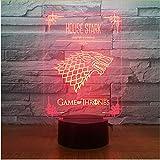 Juego De Tronos Casa Stark Wolf Acrílico Ilusión Lámpara 3D Led 7 Cambio de Color Usb Touch Lámpara de Escritorio Regalo de Cumpleaños para Niños