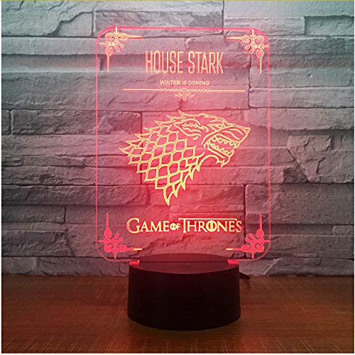 Game Of Thrones Haus Stark Wolf Acryl Illusion 3D Lampe Led 7 Farbwechsel Usb Touch Schreibtischlampe Kind Geburtstagsgeschenk