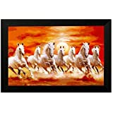 Pintura Seven running horses # vastu painting for home and office # Seven lucky running horses painting # 7 horses painting # seven horses # vastu horses # Pintura exclusive Framed Wall Art Paintings(Wooden framed painting size 18 Inch X 12 Inch) (YELLOW, 12 x 18)